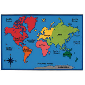 World Map Carpet, 4' x 6'