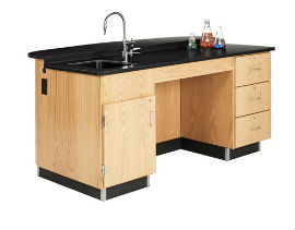 Versa-Curve Science Instructor Desk w/ Sink and 3 Drawers