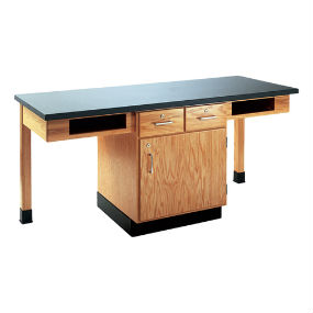 Two Station Science Cabinet Table w/Drawers