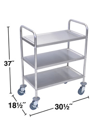 Stainless Steel Cart, 3 Shelves