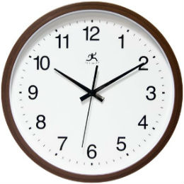 Walnut Finish Wall Clock, 14 Inch