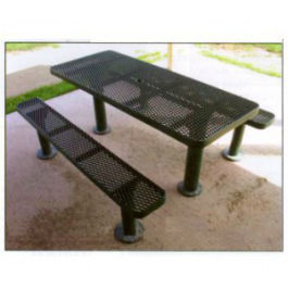 Multi Pedestal Expanded Metal Picninc Table