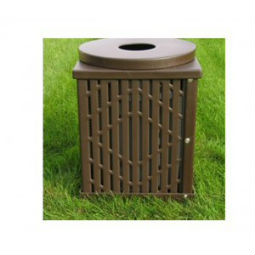 Square Laser Cut Metal Trash Receptacle