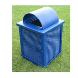 Steel Arch Lid Outdoor Trash Receptacle